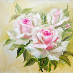 Obraz na Plexi Do sypialni Vinage white pink roses.