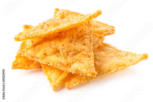 Fotografie, Obraz  Corn chips with pepper isolated on white