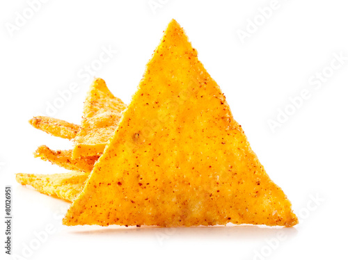Fotografía Corn chips with pepper isolated on white