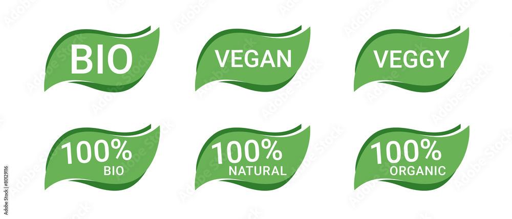 Fototapety, obrazy: Icon Button Bio Vegan Vegetarisch
