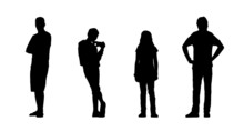 People Standing Outdoor Silhouettes Set 24