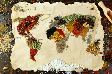 FototapetaMap of world made from different kinds of spices