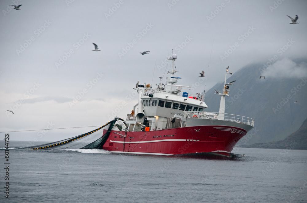 Fototapeta Fischkutter Norwegen