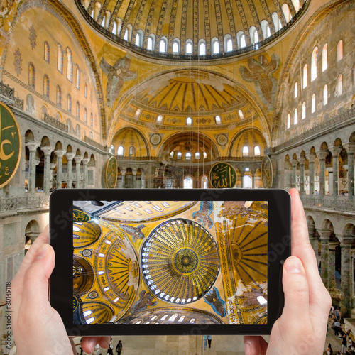 tourist photographs of Hagia Sophia, Istanbul Poster