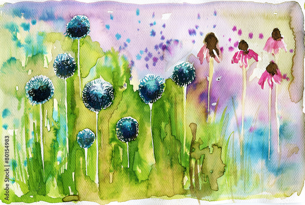 Fototapety, obrazy: Akwarela przedstawiająca wiosenne kwiaty na łące
