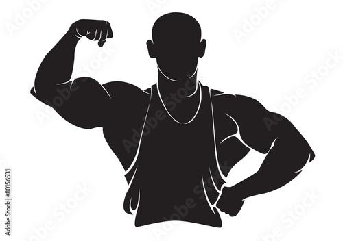 Keuken foto achterwand Superheroes Bodybuilder. Vector silhouette isolated on white