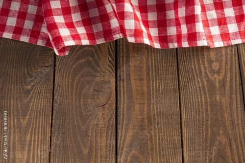 Top Old Wooden Table With Red Picnic Tablecloth And Copye