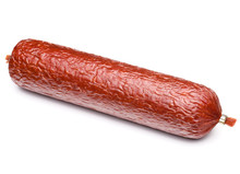 Smoked Sausage Salami Isolated...