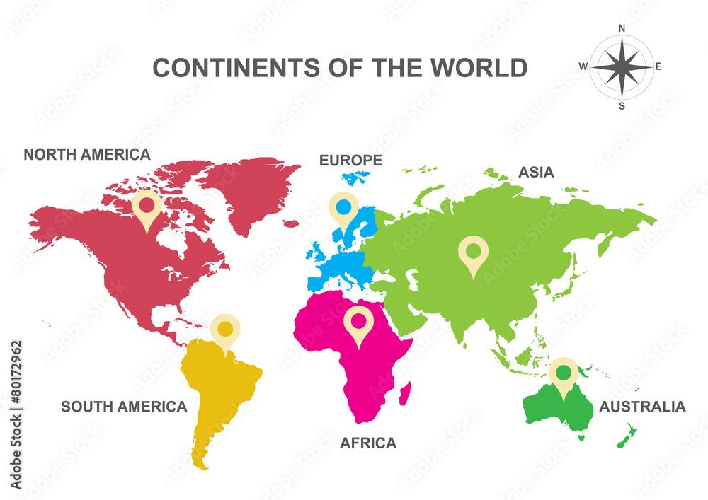 Fototapety, obrazy: continents of the world, Asia, Europe, Australia, America,