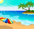 Tropical beach with Palm Trees and umbrella