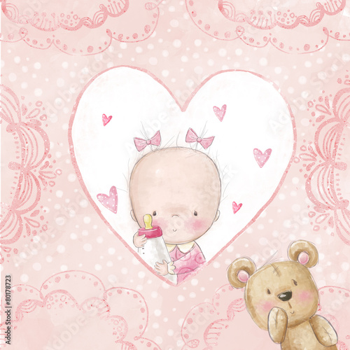 Baby shower greeting card.Baby girl with teddy #80178723