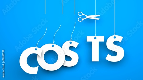 Fotografie, Obraz  Scissors cuts word COSTS