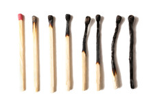 Burnt Matches Isolated On White