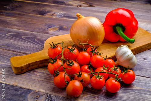 Fotografie, Obraz  vegetable still life on wood table