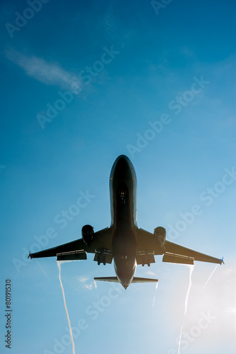 Fototapeta premium big passenger airplane comes in to land
