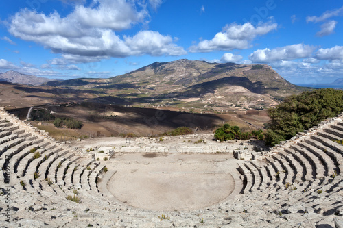 Fotografie, Obraz  Panoramic view of ancient greek theathre of Segesta, Sicily