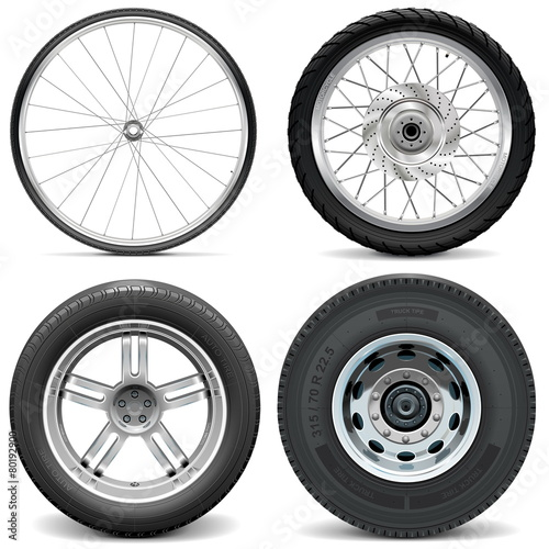 Fotografiet  Vector Tires for Bicycle Motorcycle Car and Truck