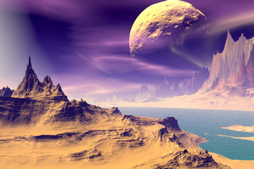 Obraz na Szkle 3D rendered fantasy alien planet. Rocks and sky