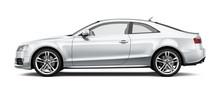 White Coupe Car On White Background