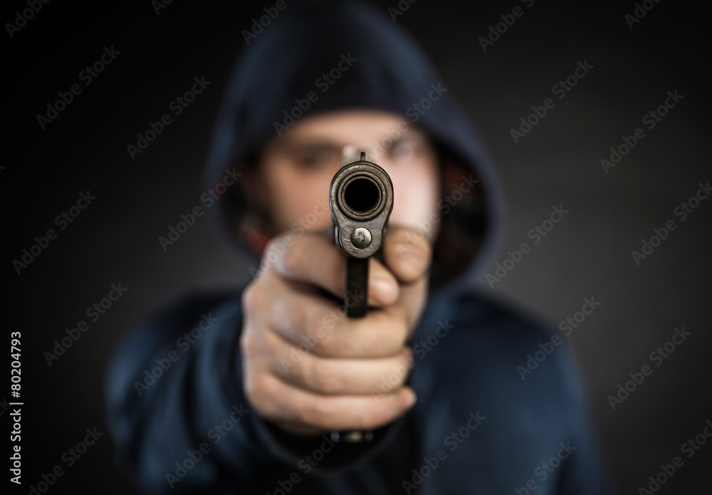 Fototapeta killer with gun
