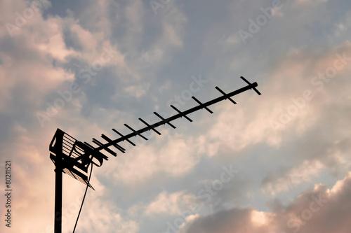 Television antenna silhouette Canvas Print