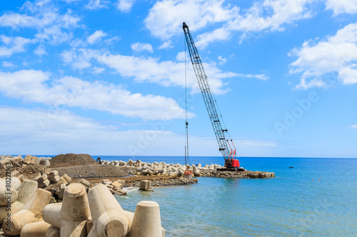 Fényképezés  Crane on coast of Madeira island in Funchal port
