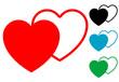 Pictograma corazones en varios colores