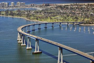 Fototapeta na wymiar San Diego's Coronado Bay Bridge - aerial view