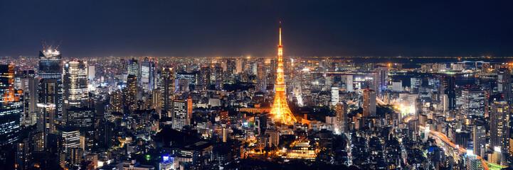 Panel Szklany Miasto Nocą Tokyo Skyline