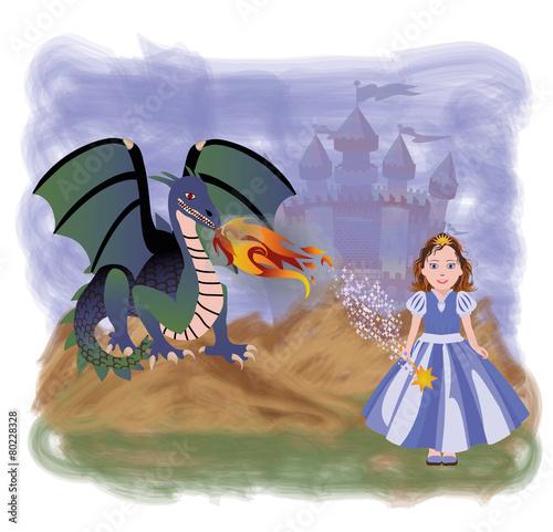 Wall Murals Mermaid Young princess and magic dragon, vector illustration