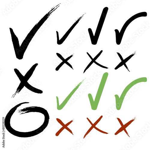 Fotografía Hand drawn Check mark buttons. Vector illustration.