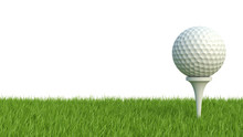 3d Render Of Golf Ball On Green Lawn Isolated On White Backgroun
