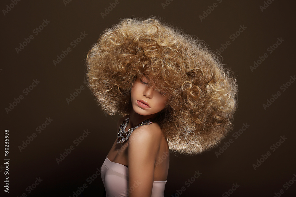Fototapeta Portrait of Young Woman with Futuristic Hairdo