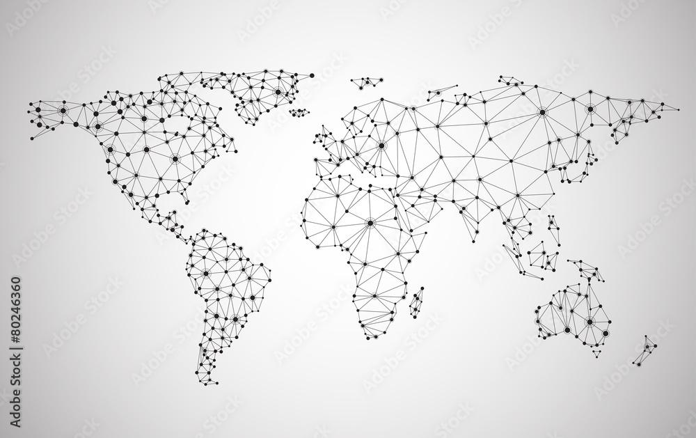 Fototapeta Global network mesh. Earth map.