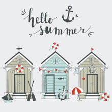 Summer Card With Beach Huts.