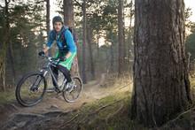Mountain Bike Cyclist On An Offroad Trail