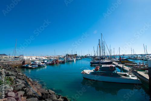 Yachts in Corralejo port on Fuerteventura Canary Island
