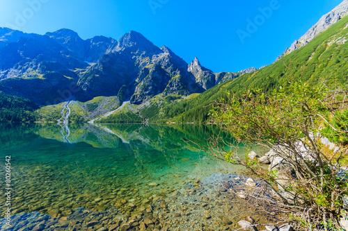 Foto op Plexiglas Turkoois Green water mountain lake Morskie Oko, Tatra Mountains, Poland