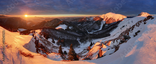 Photo Stands Night blue Winter mountains landscape at sunrise, panorama