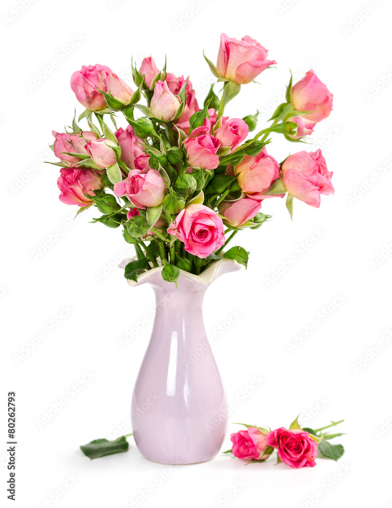 Bouquet Of Pink Roses In A Vase Foto Poster Wandbilder Bei Europosters