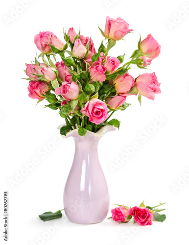 Fotografie, Obraz  Bouquet of pink roses in a vase