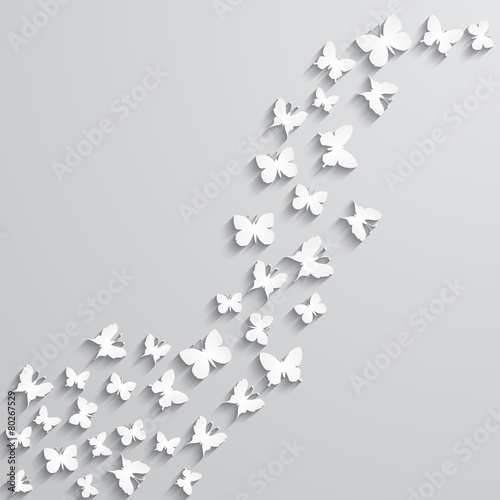 Foto op Aluminium Vlinders in Grunge Abstract background with paper butterfly in the wave form.