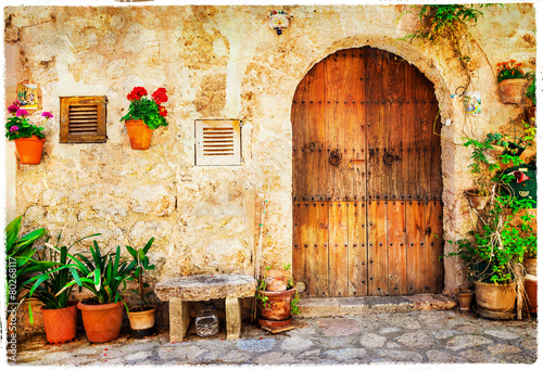 Fotografia, Obraz  authentic old streets in Valdemossa village, Mallorca