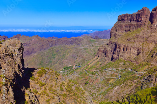 Photo Stands Road in forest Village Masca at Tenerife island - Canary
