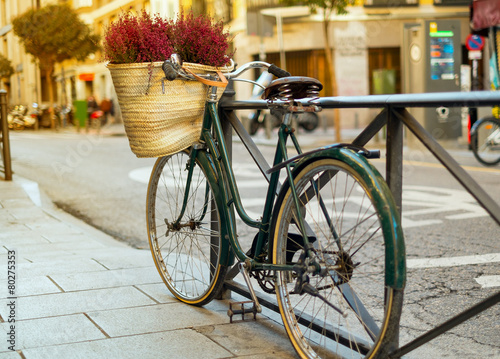 Deurstickers Fiets Bicycle at sunset