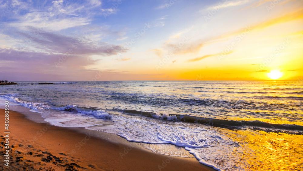 Fototapeta sunset over sea, beauty in nature