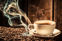 Taste Coffee Cup With Roasted ...