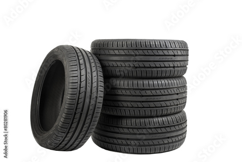 Fotografiet  Tires isolated on white, special color effect