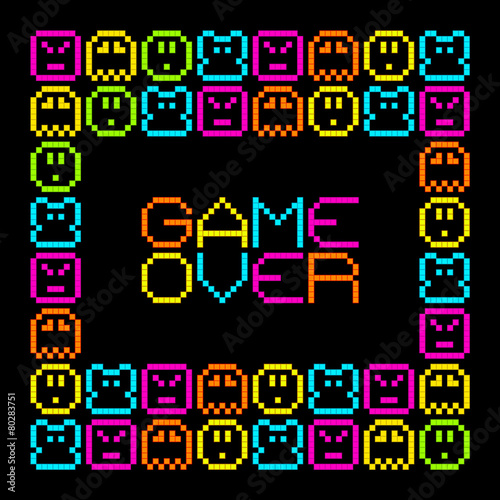 Tela 8-Bit Pixel Retro Arcade Game Over. EPS8 Vector