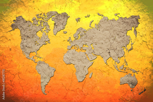 vintage world map with Red background Canvas Print